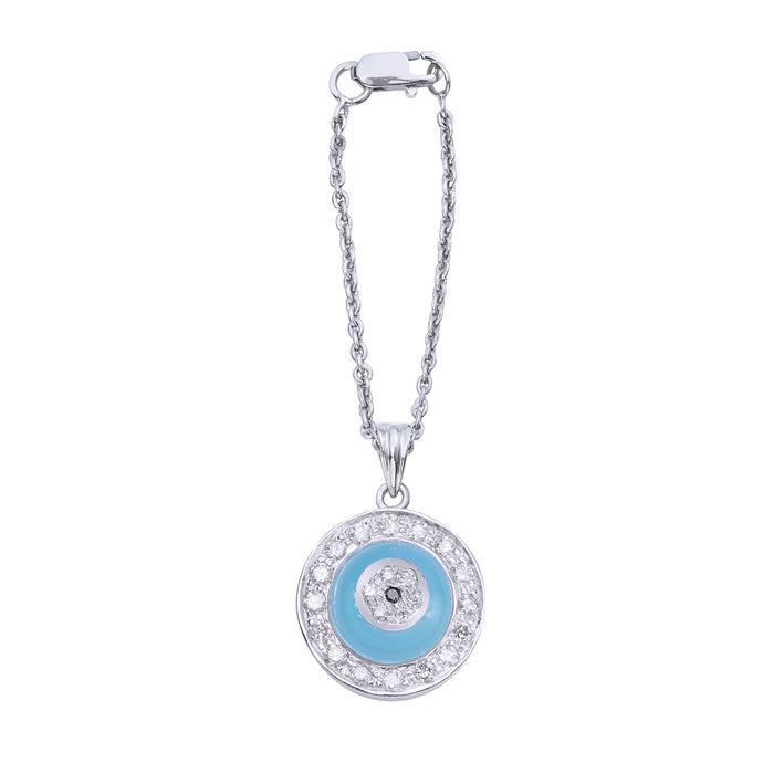 Blue Onyx Donut Diamond Watch Charm