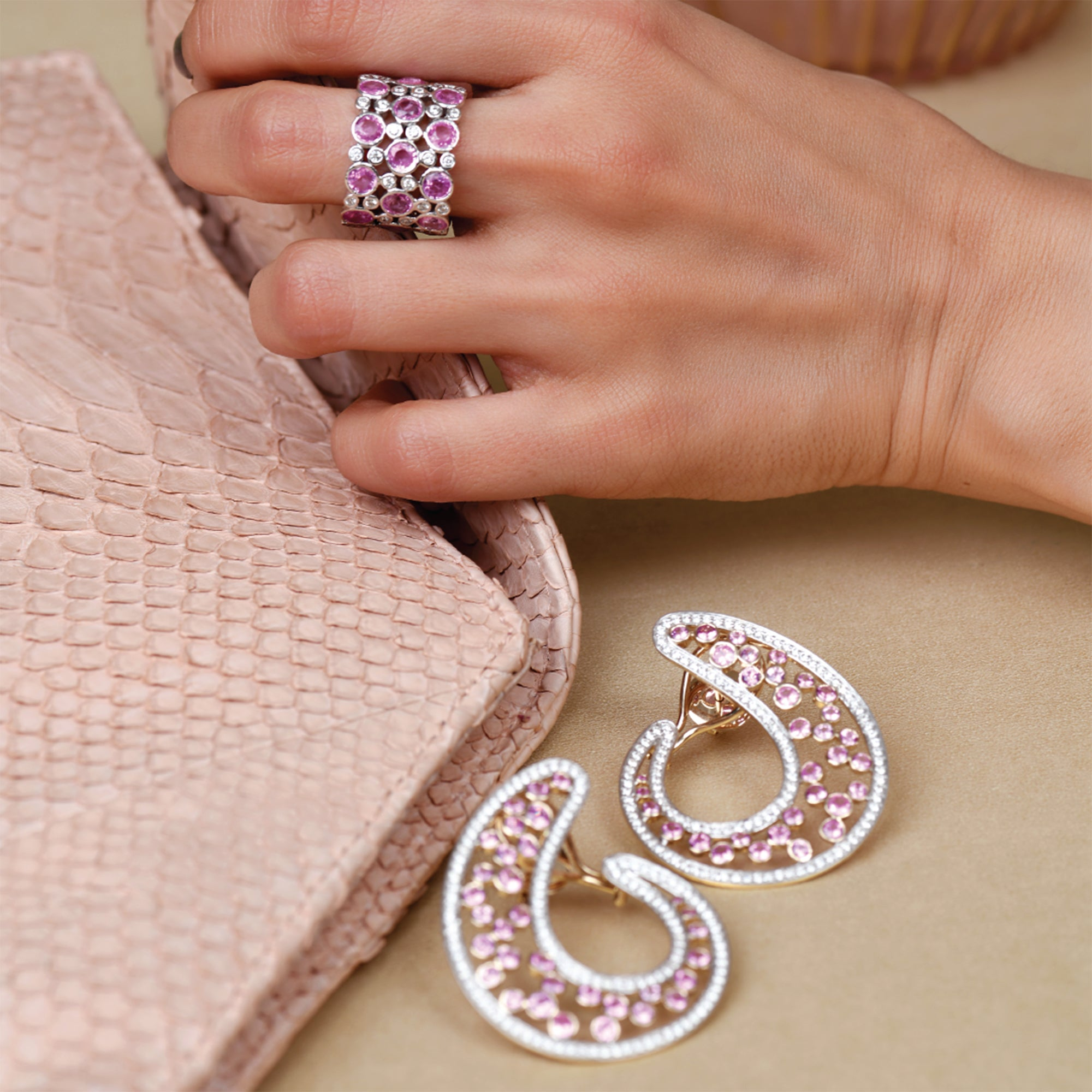 Pink Sapphire and Diamond C- Clips