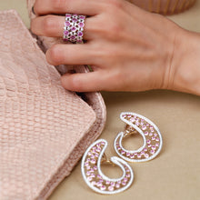 Load image into Gallery viewer, Pink Sapphire and Diamond C- Clips
