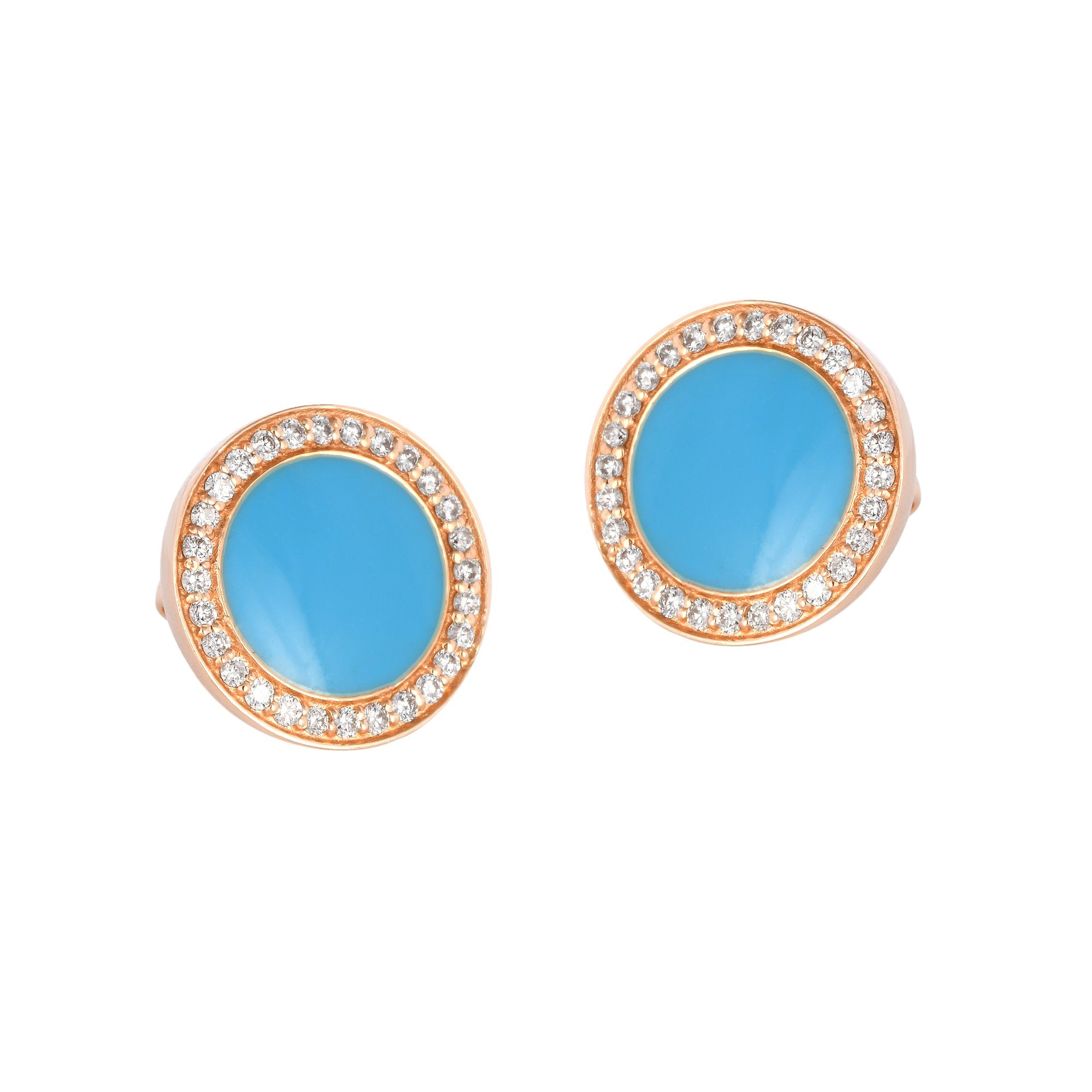 Round Blue Enamel Diamond Studs