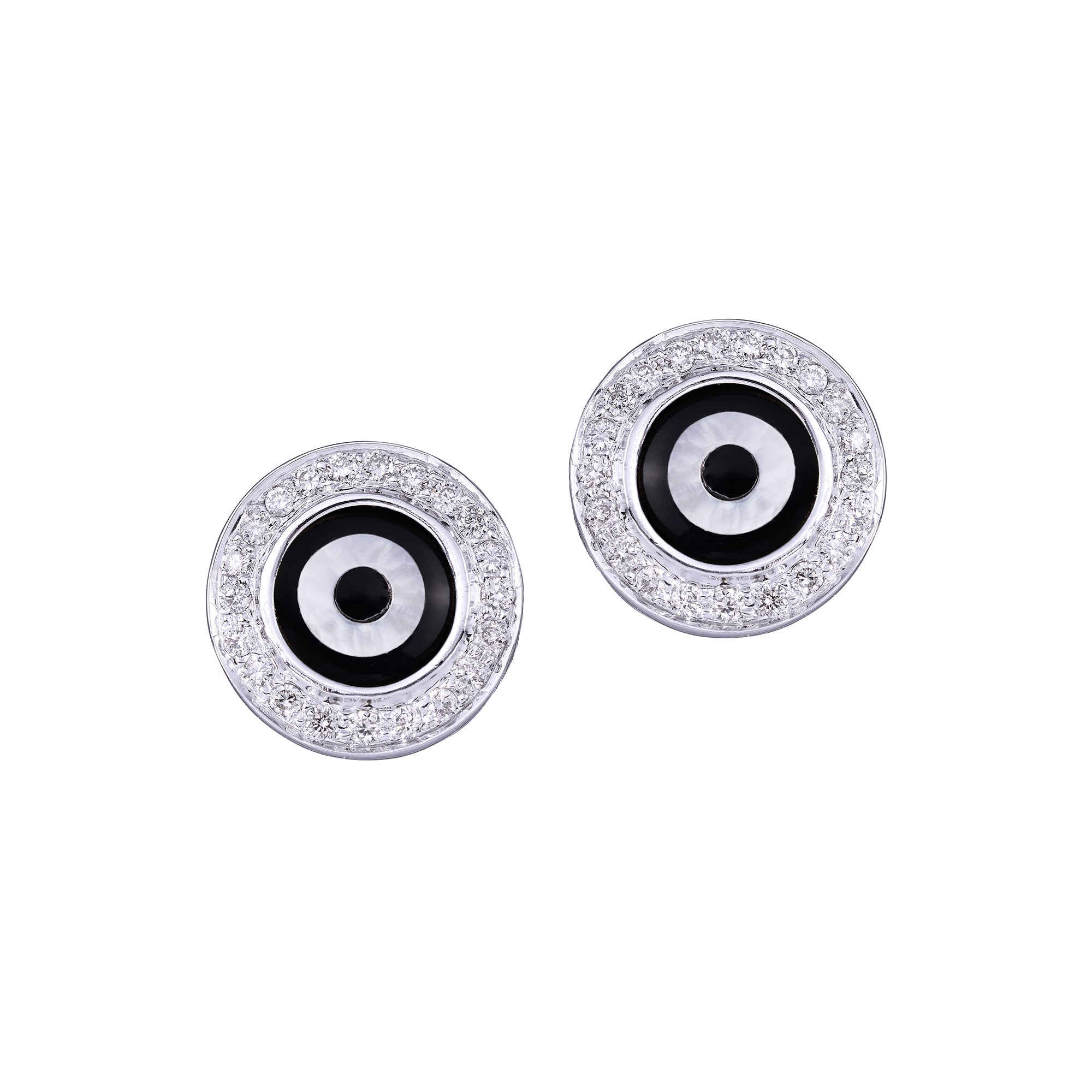 Round Black Onyx Diamond Studs
