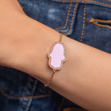 Load image into Gallery viewer, Hamsa Hand Pink Enamel Diamond Chain Bracelet