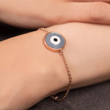 Load image into Gallery viewer, Round Grey Enamel Evil Eye Chain Bracelet