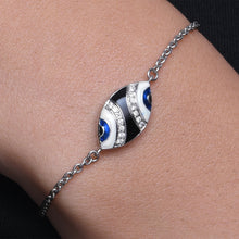 Load image into Gallery viewer, Marquise Enamel Evil Eye Diamond Chain Bracelet