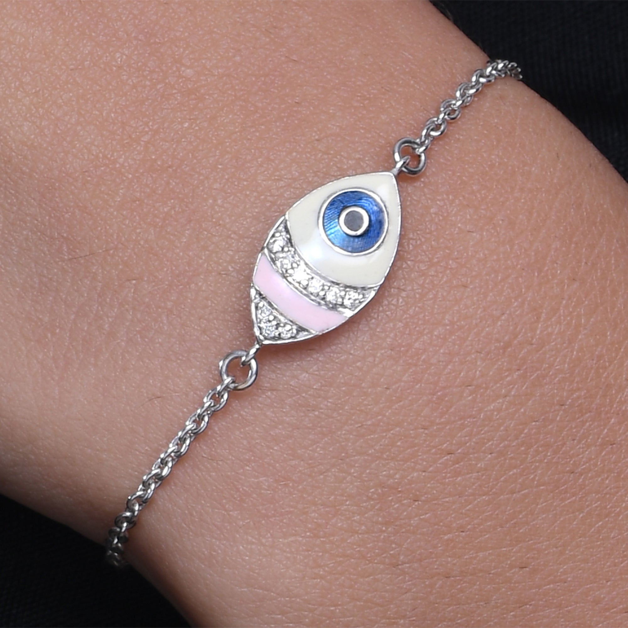 Marquise Enamel Evil Eye Diamond Chain Bracelet