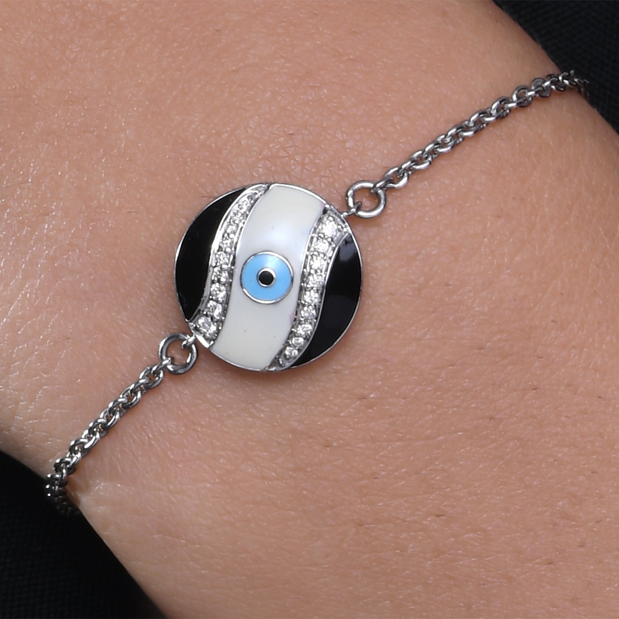 Round Enamel Evil Eye Diamond Chain Bracelet