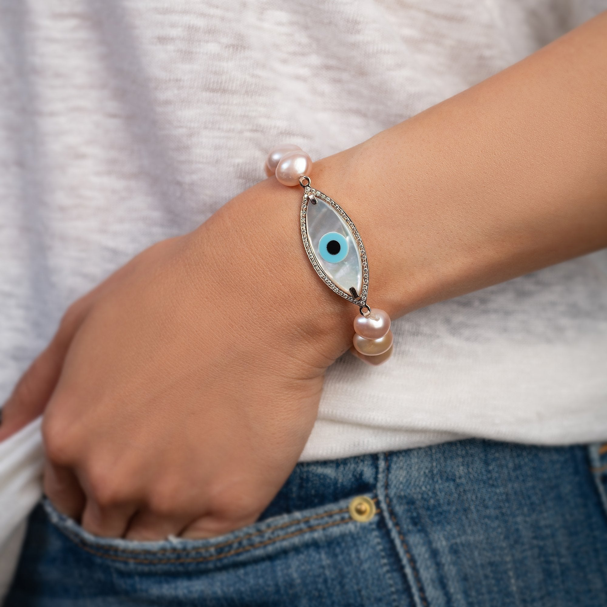 Large Marquise Evil Eye Diamond Pearl Bracelet
