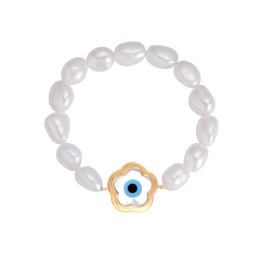 Small Flower Evil Eye Pearl Bracelet