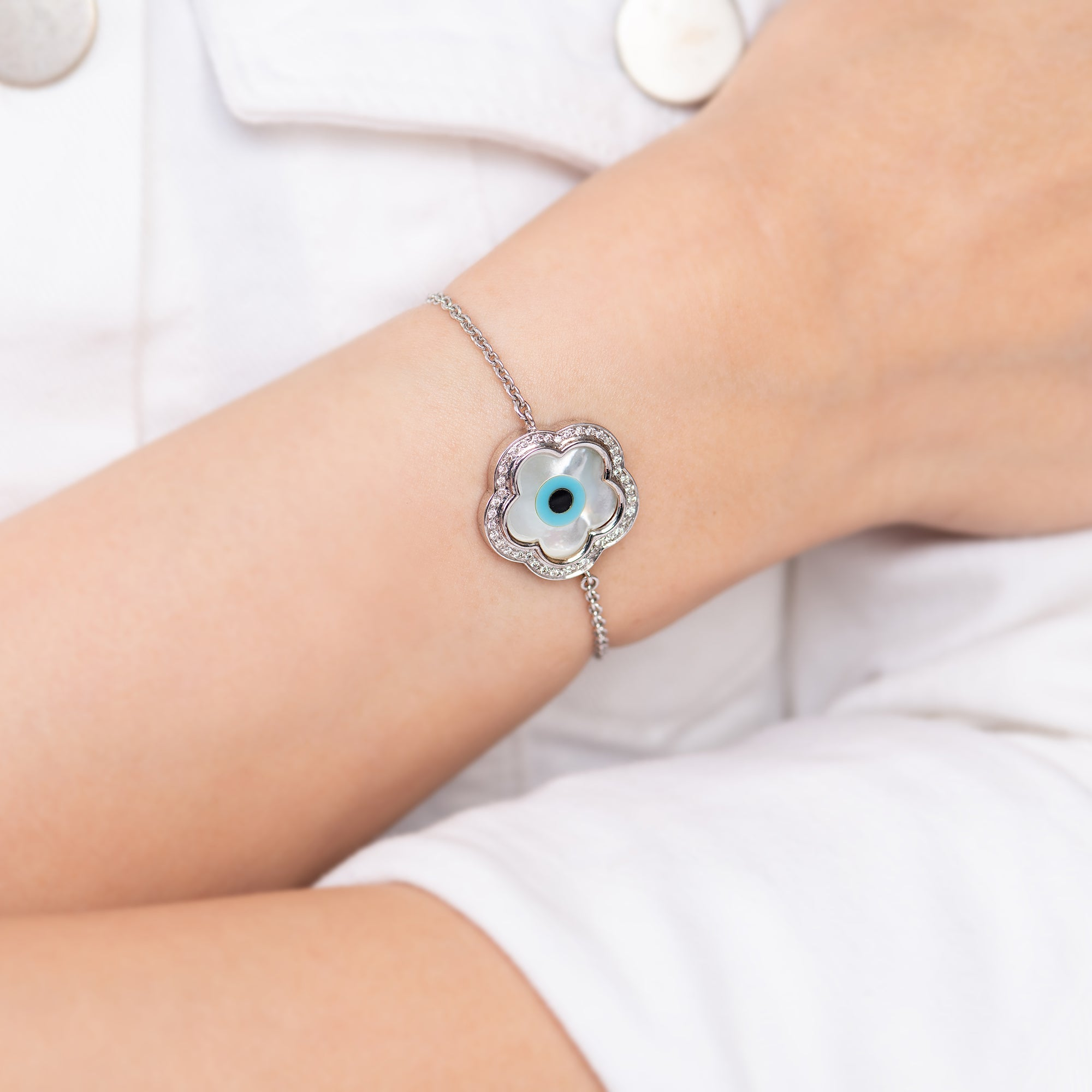 Small Flower Evil Eye Diamond Chain Bracelet