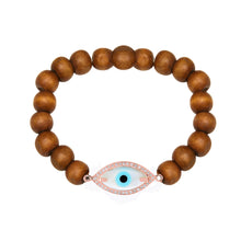 Load image into Gallery viewer, Medium Marquise Evil Eye Diamond Wooden Bead Bracelet