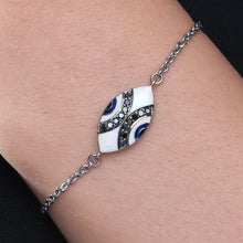 Load image into Gallery viewer, Marquise Enamel Evil Eye Black Diamond Chain Bracelet