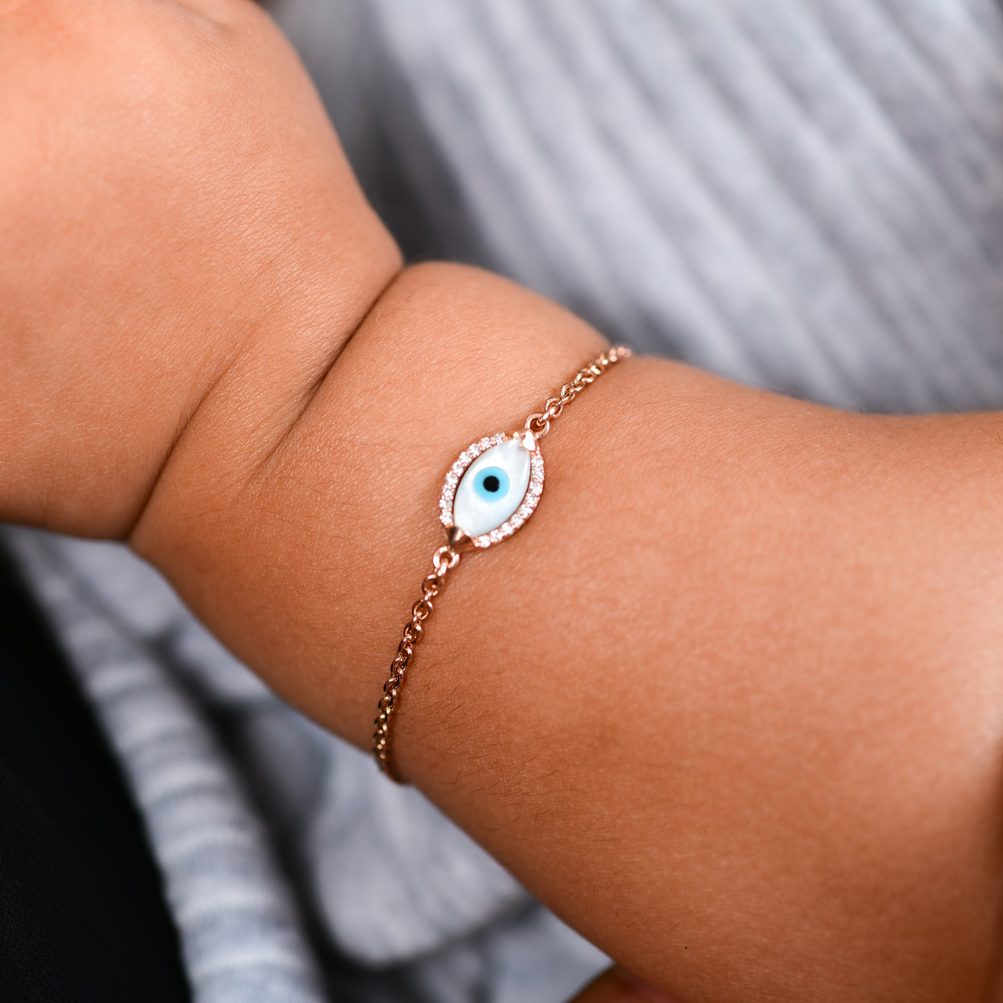 Baby Marquise Evil Eye Diamond Chain Bracelet