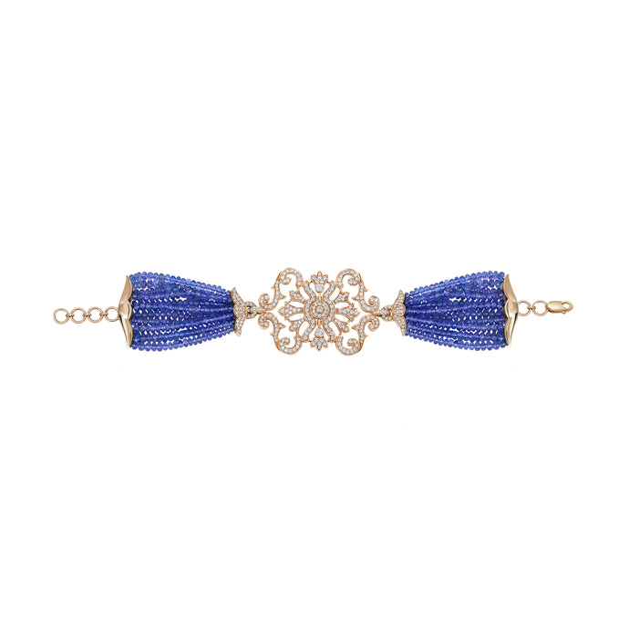 Diamond and Tanzanite Bead Bracelet