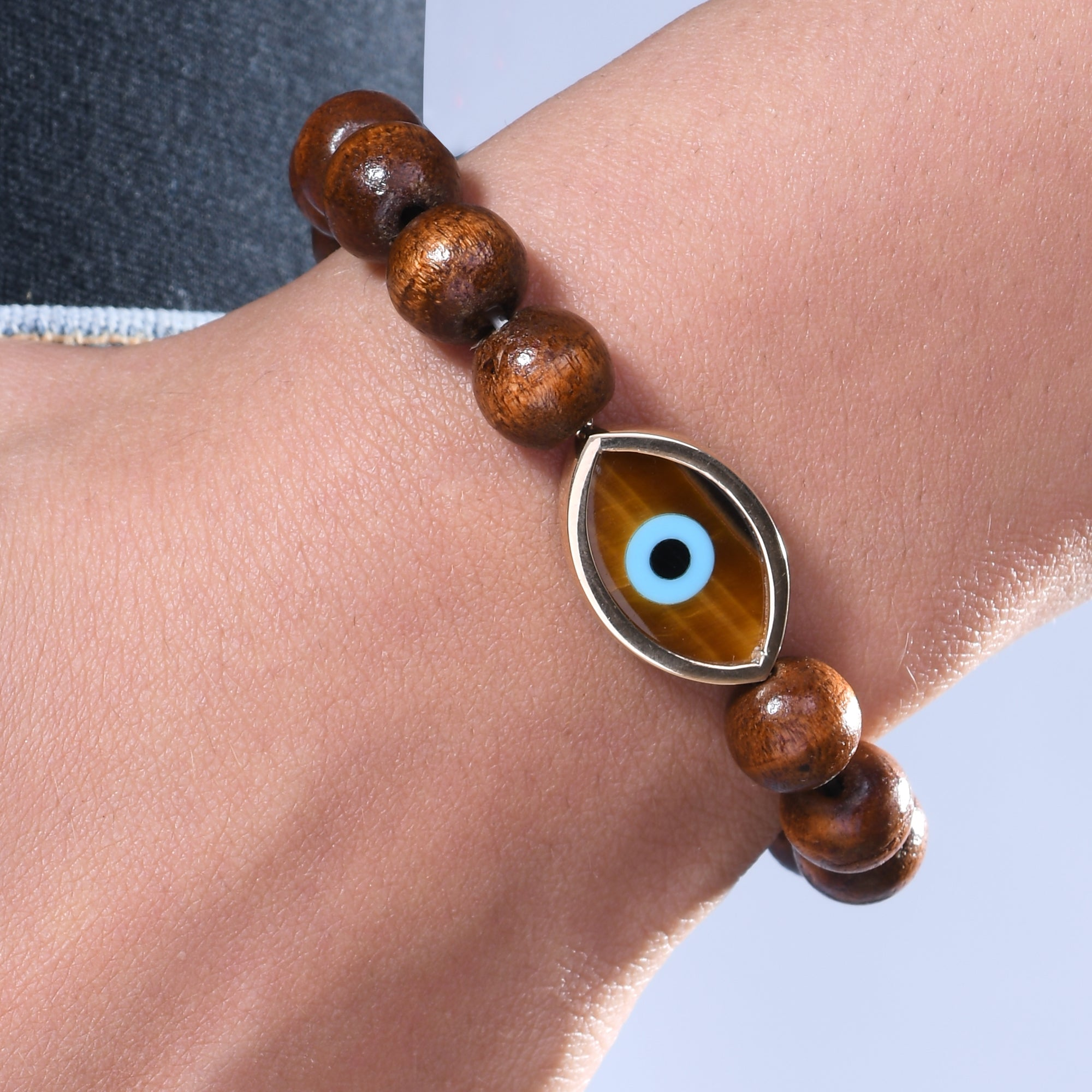 Large Marquise Tiger Eye Wooden Bead Bracelet