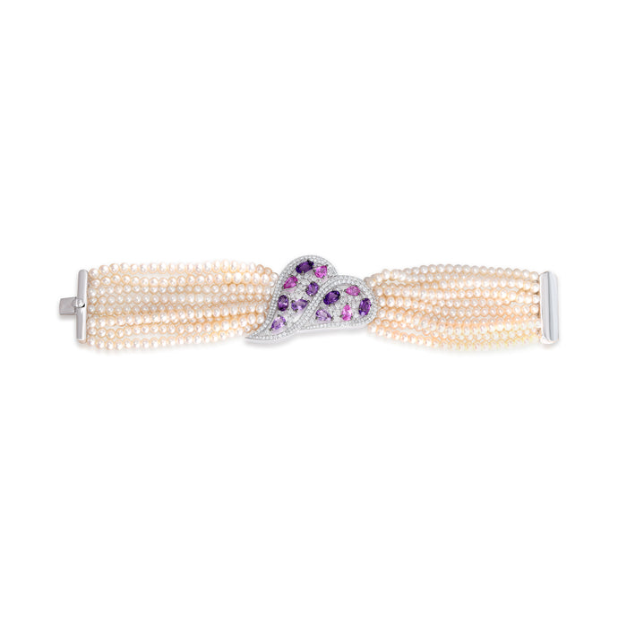 Pink Sapphire, Amethyst and Pearl Bracelet