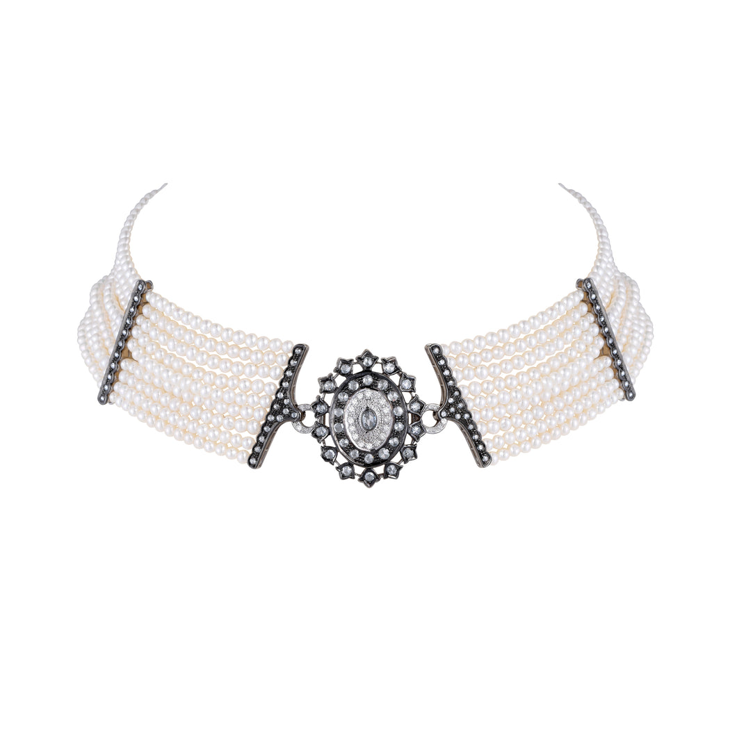 Vintage Diamond and Pearl Choker