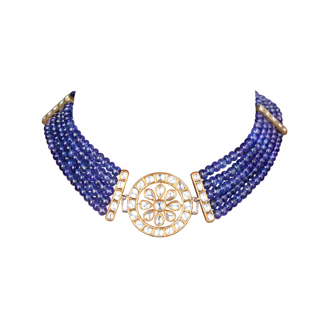 Uncut Diamond and Tanzanite Choker