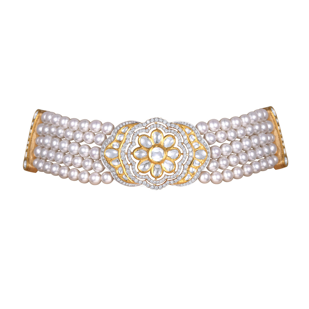 Uncut Diamond and Pearl Choker