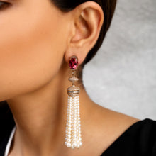Load image into Gallery viewer, Rubellite and Diamond Tassel Earrings