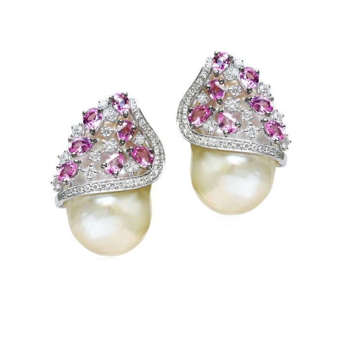 Baroque Pearl and Pink Sapphire Studs