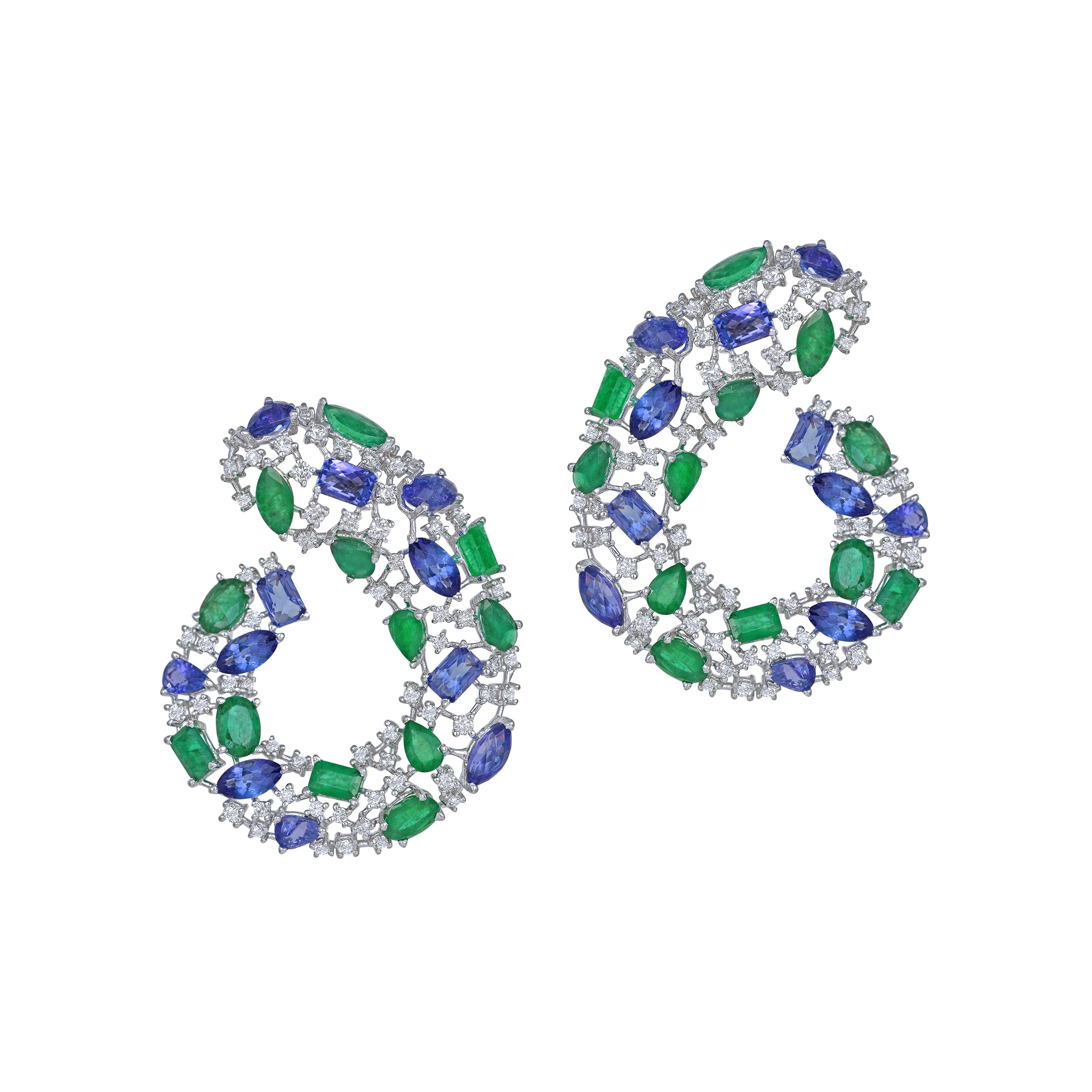 Tanzanite, Emerald and Diamond C- Clips