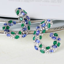 Load image into Gallery viewer, Tanzanite, Emerald and Diamond C- Clips