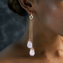 Load image into Gallery viewer, Rose Quartz Diamond Shoulder Dusters