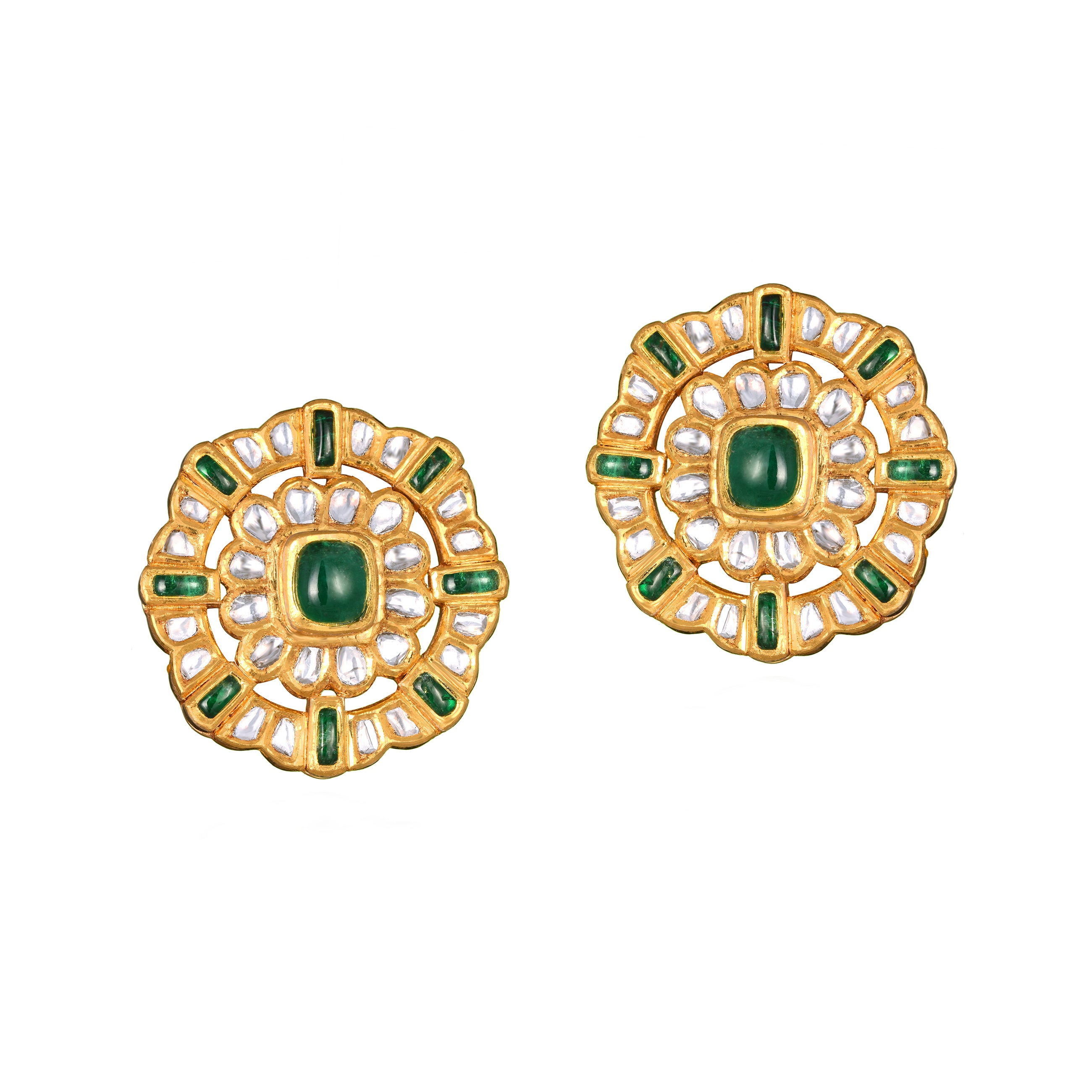 Uncut Diamond and Emerald Studs