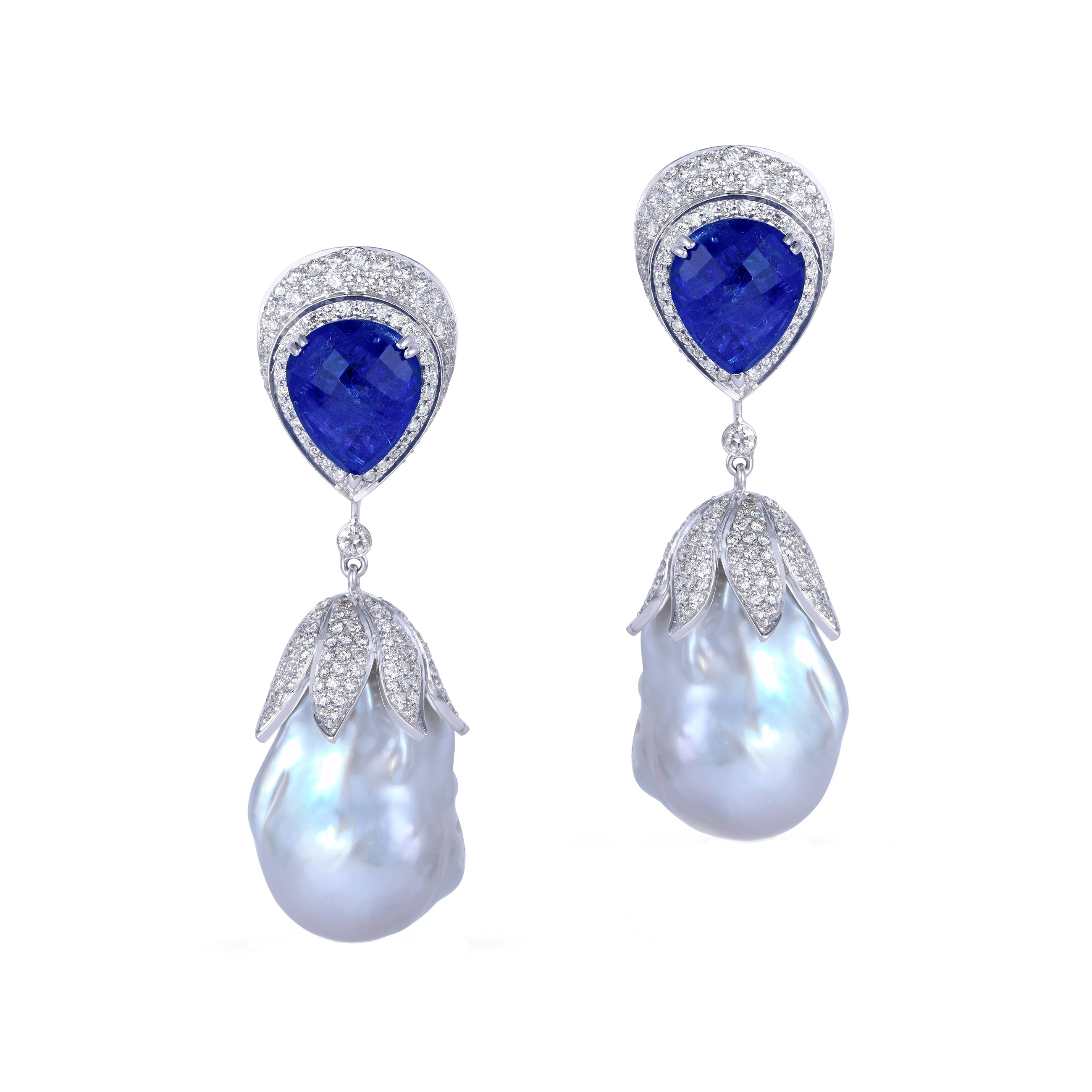 Baroque Pearl, Tanzanite and Diamond Earrings