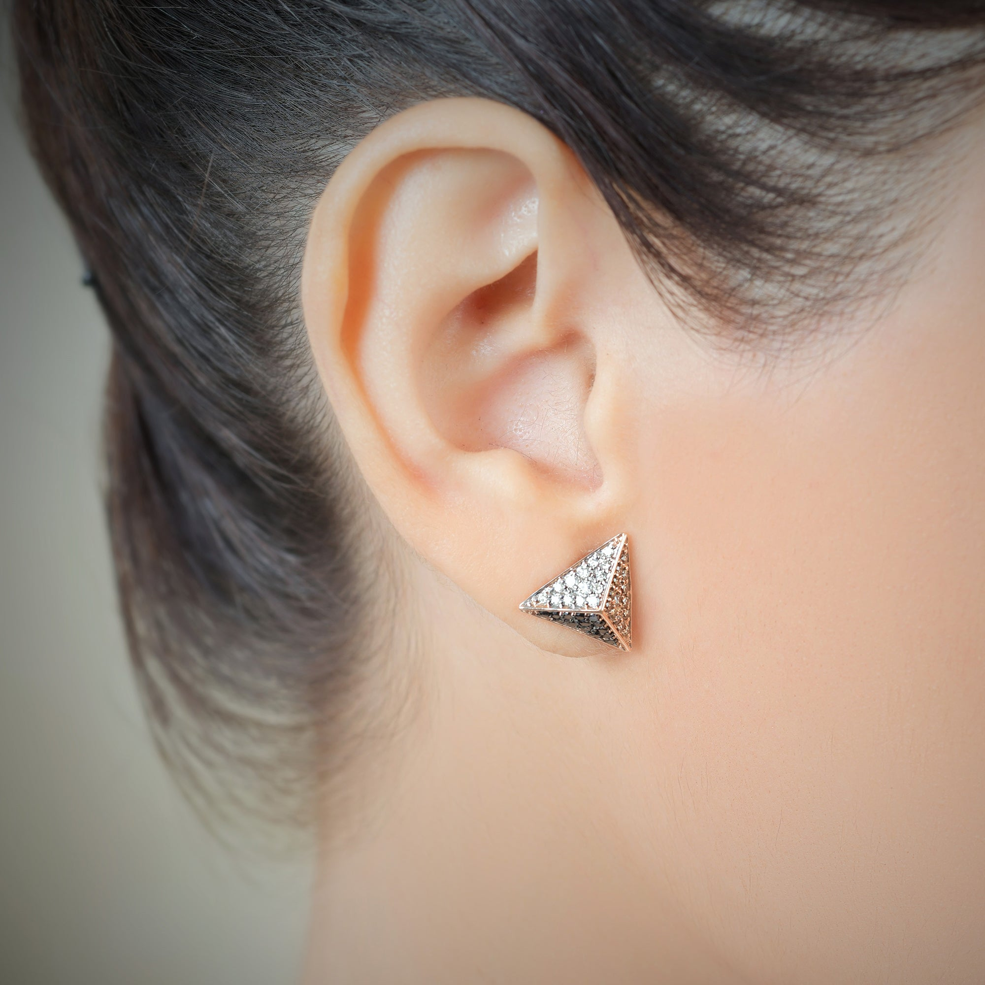 Big Coffee, Black and White Diamond Studs
