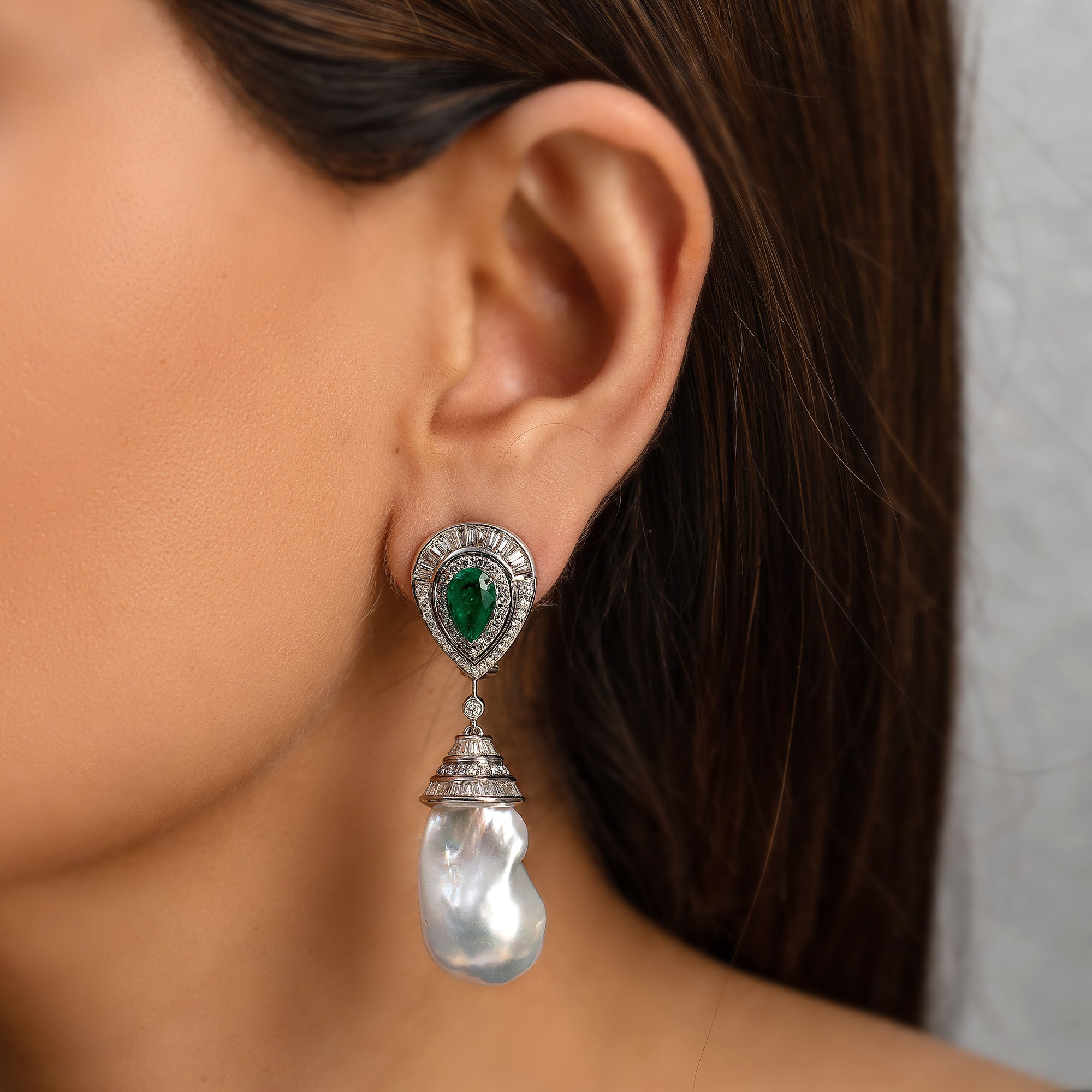 Baroque Pearl, Emerald and Diamond Earrings