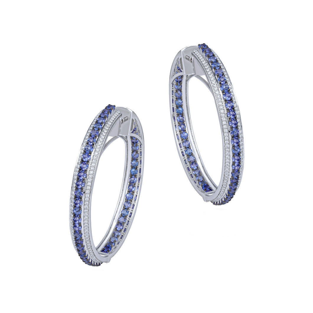 Tanzanite and Diamond Hoops