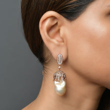 Load image into Gallery viewer, Baroque Pearl and Diamond Earrings