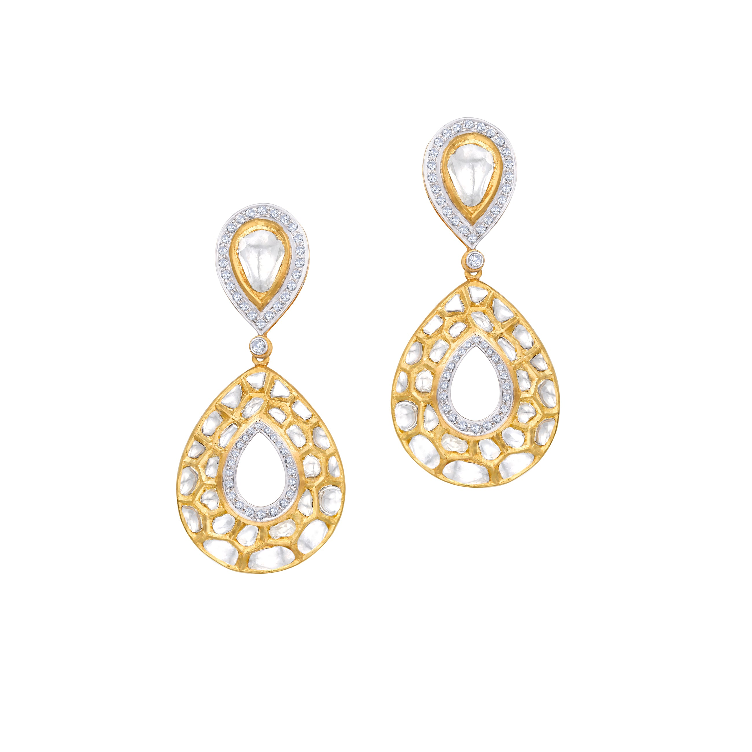 Uncut Diamond and Full Cut Diamond Earrings