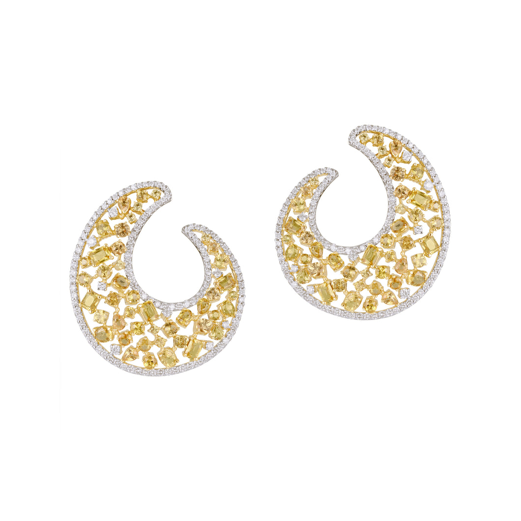 Yellow Sapphire and Diamond C-Clips