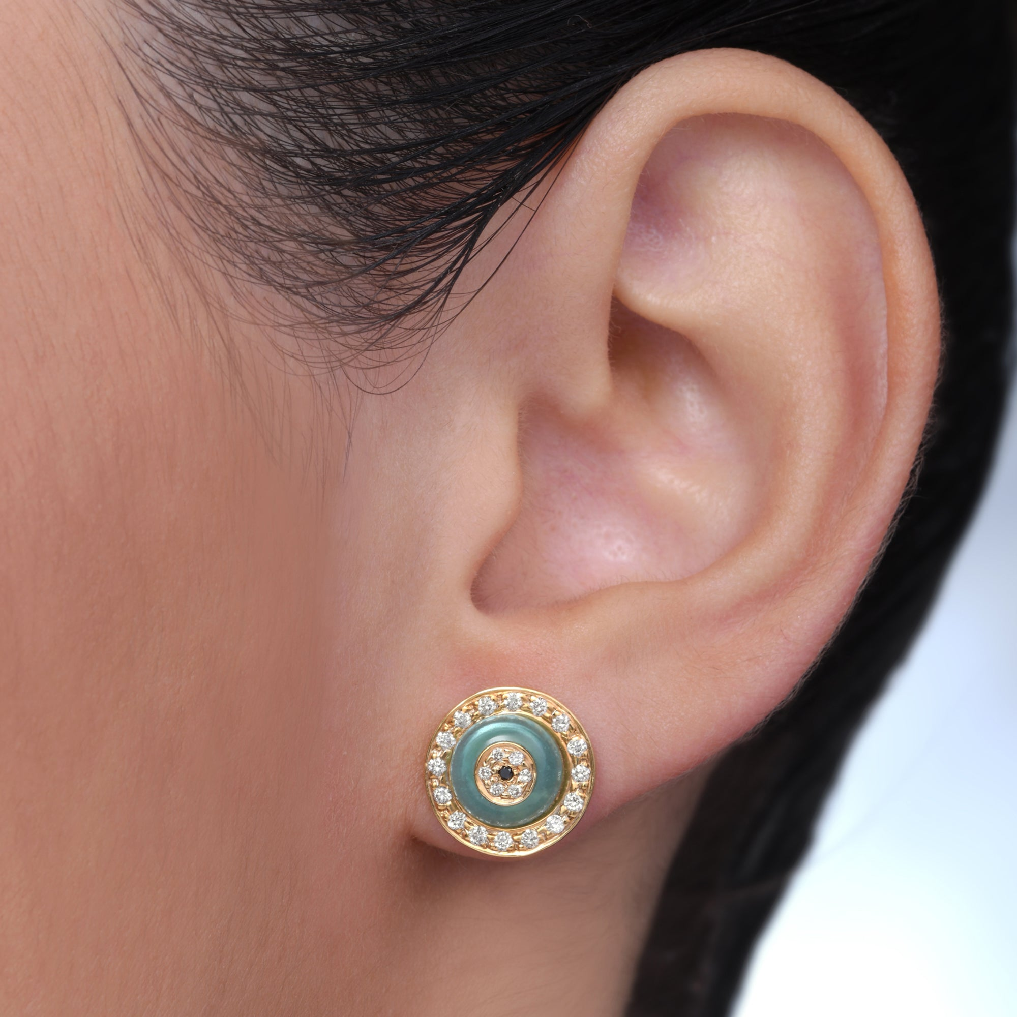 Blue Onyx Donut Diamond Studs