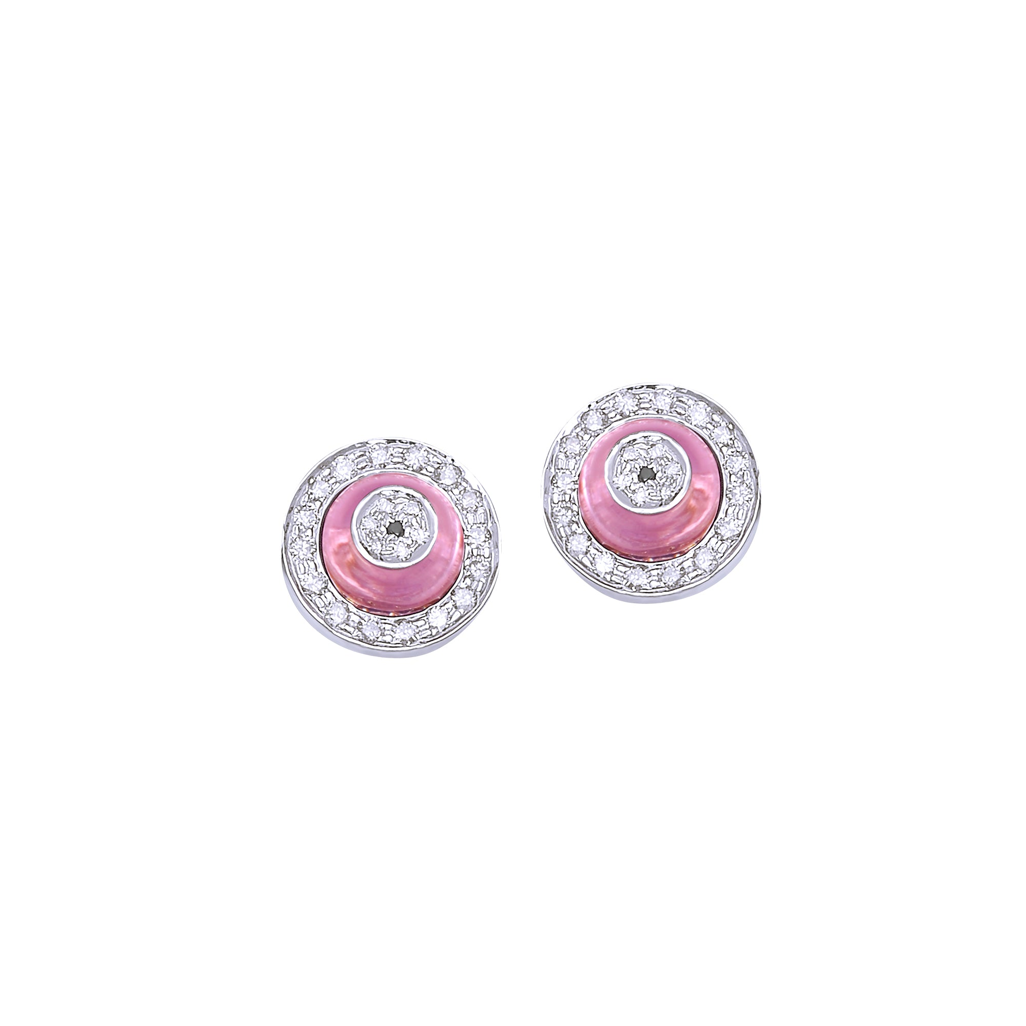Round Rose Quartz Donut Diamond Studs