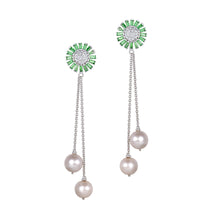 Load image into Gallery viewer, Tsavorite and Diamond Pearl Earrings
