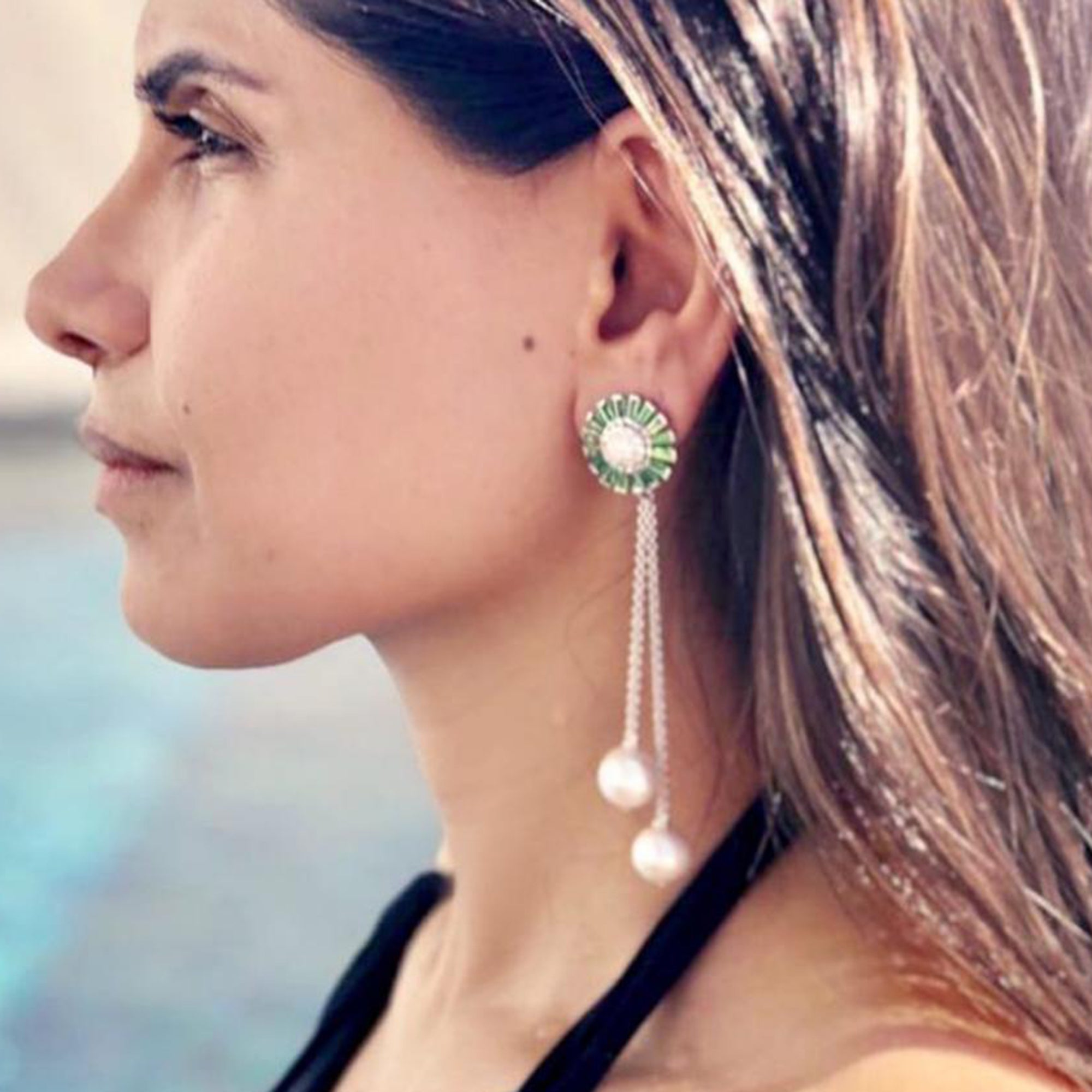 Tsavorite and Diamond Pearl Earrings