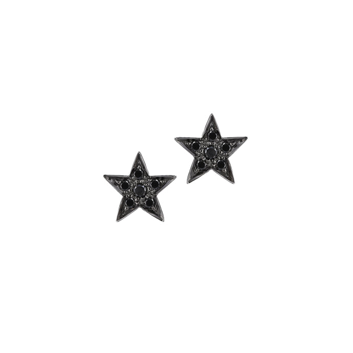 Small Star Black Diamond Studs