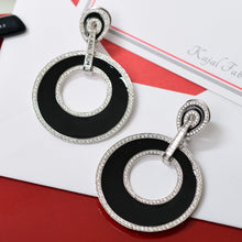 Load image into Gallery viewer, Black Enamel and Diamond Earrings