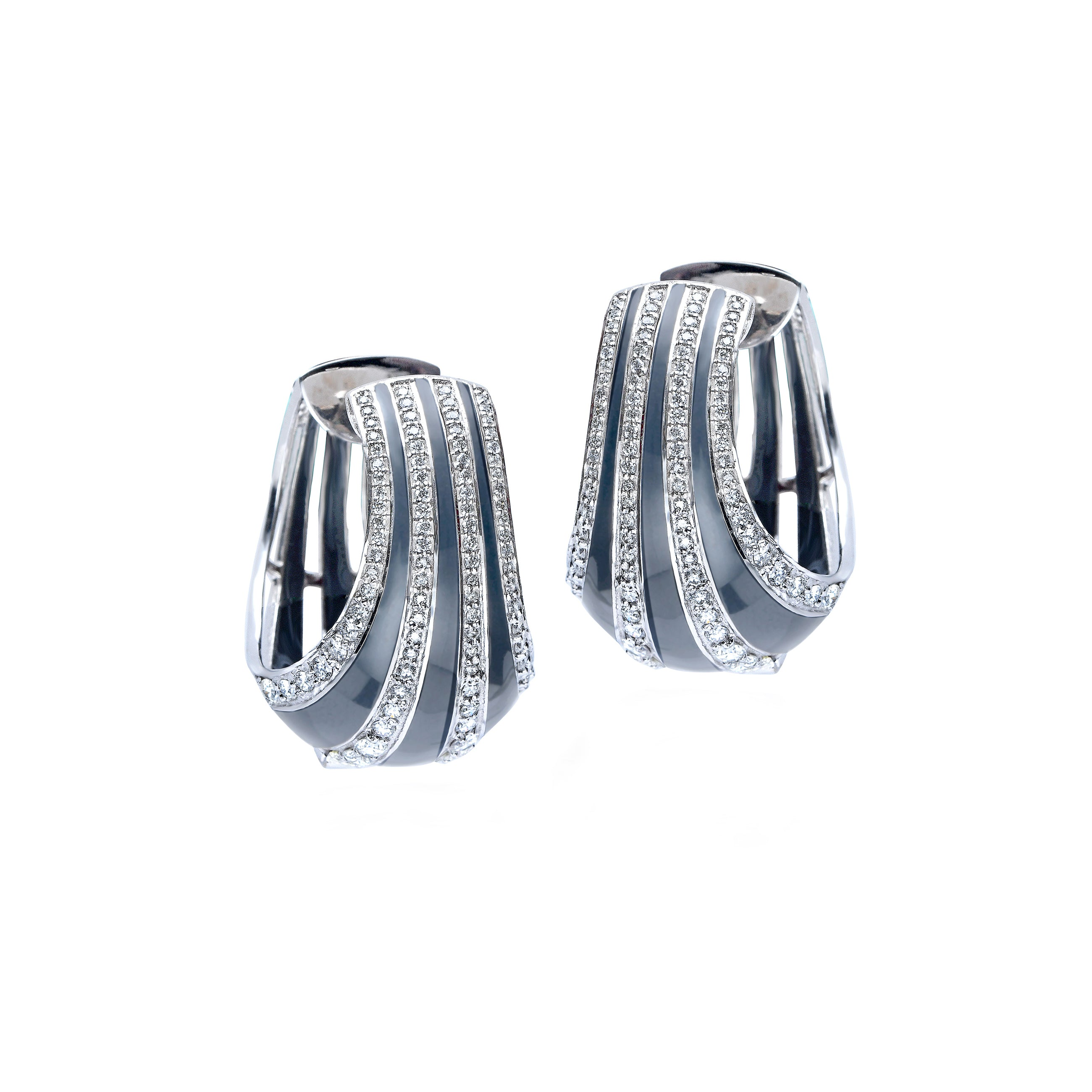 Grey Enamel and Diamond Hoops