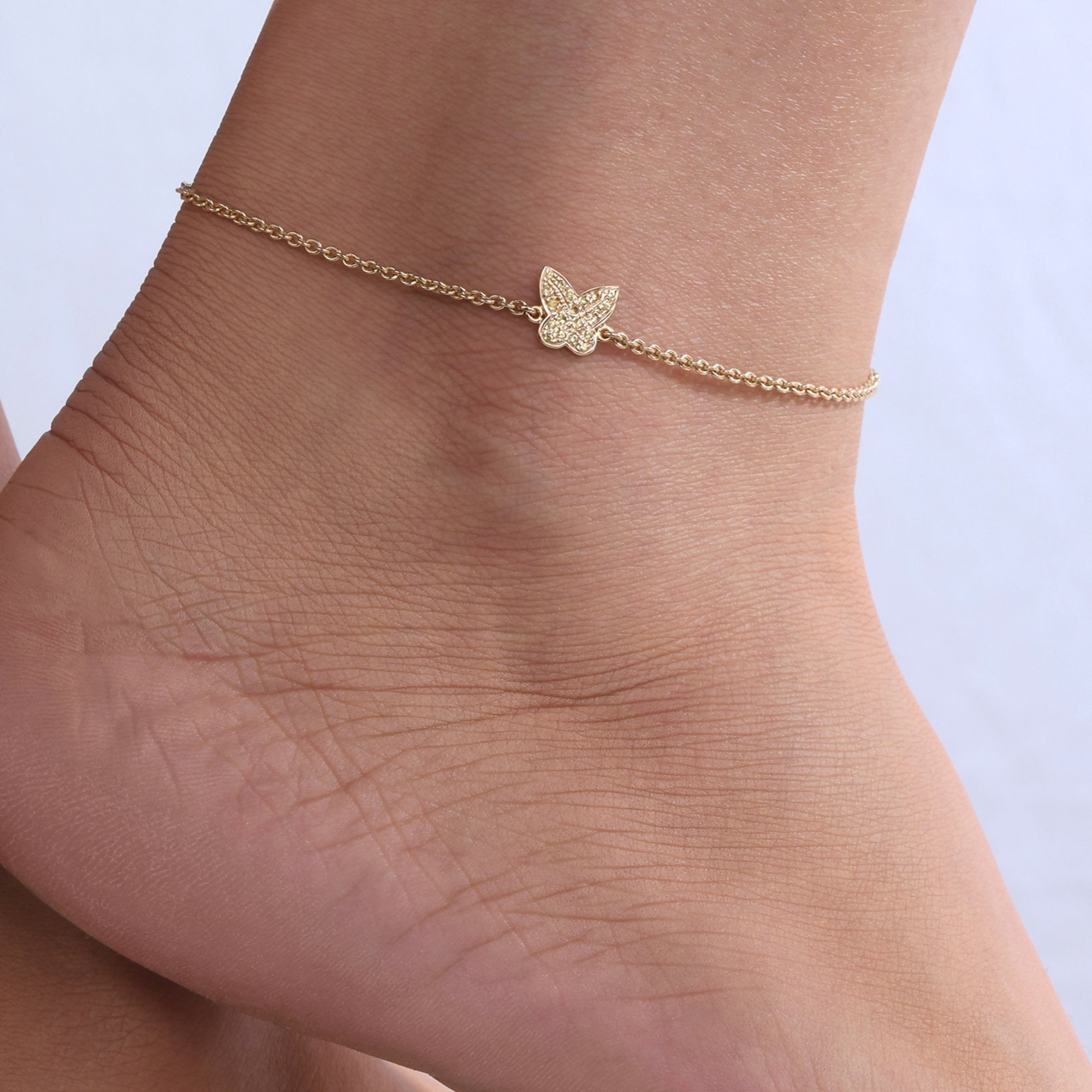Yellow Sapphire Butterfly Anklet