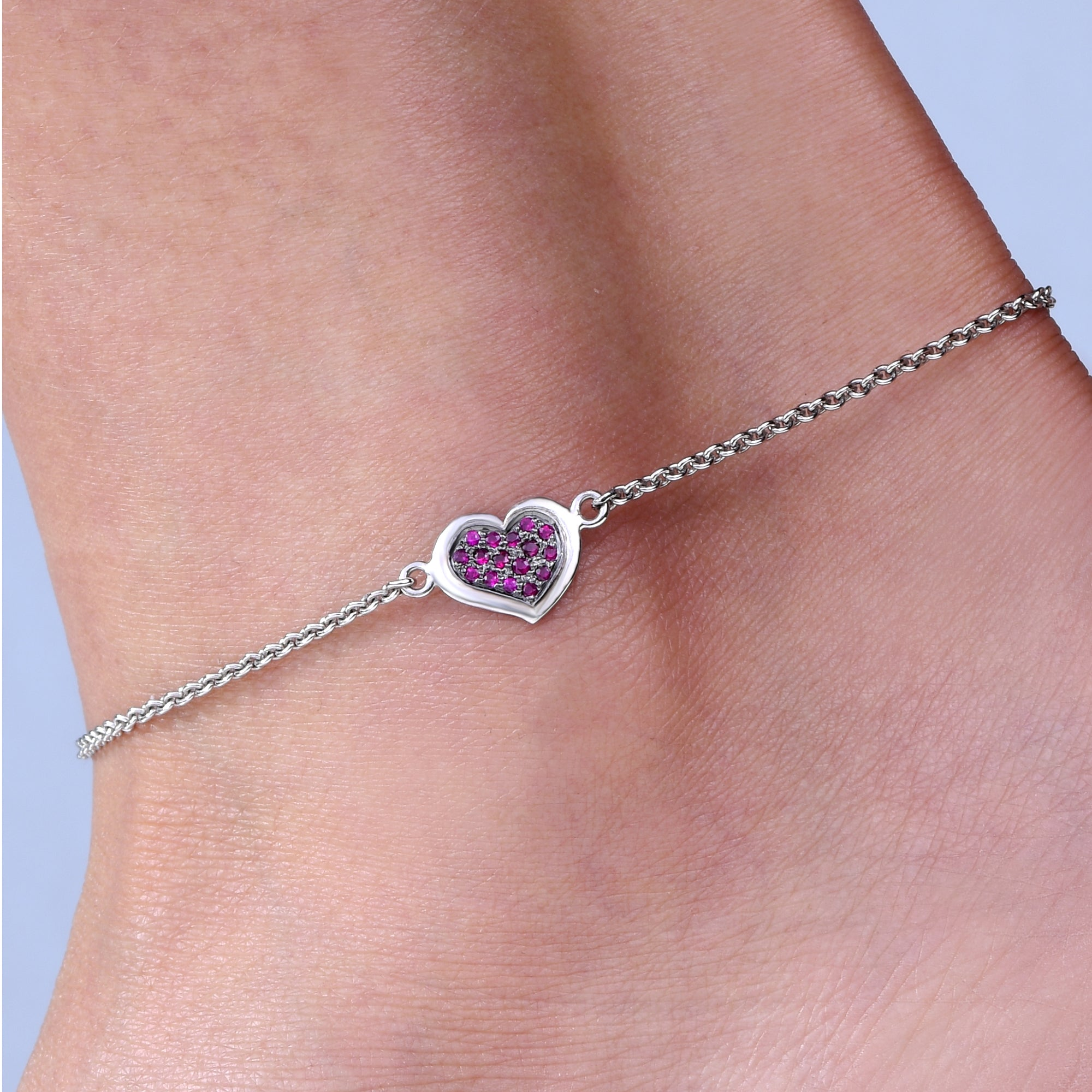 Ruby Heart Anklet