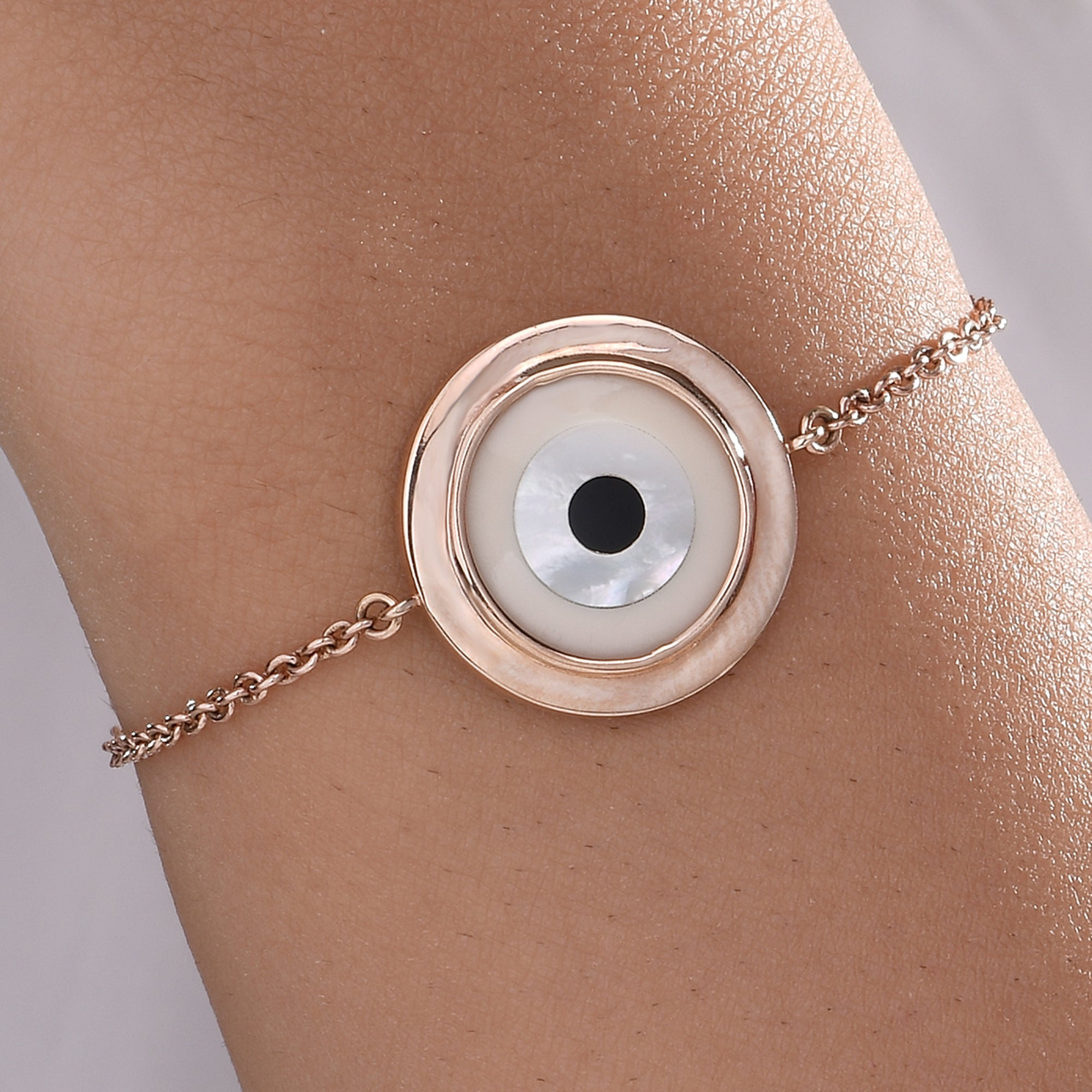 Large Round Off White Evil Eye Chain Bracelet
