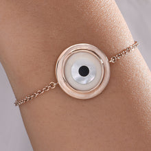 Load image into Gallery viewer, Large Round Off White Evil Eye Chain Bracelet