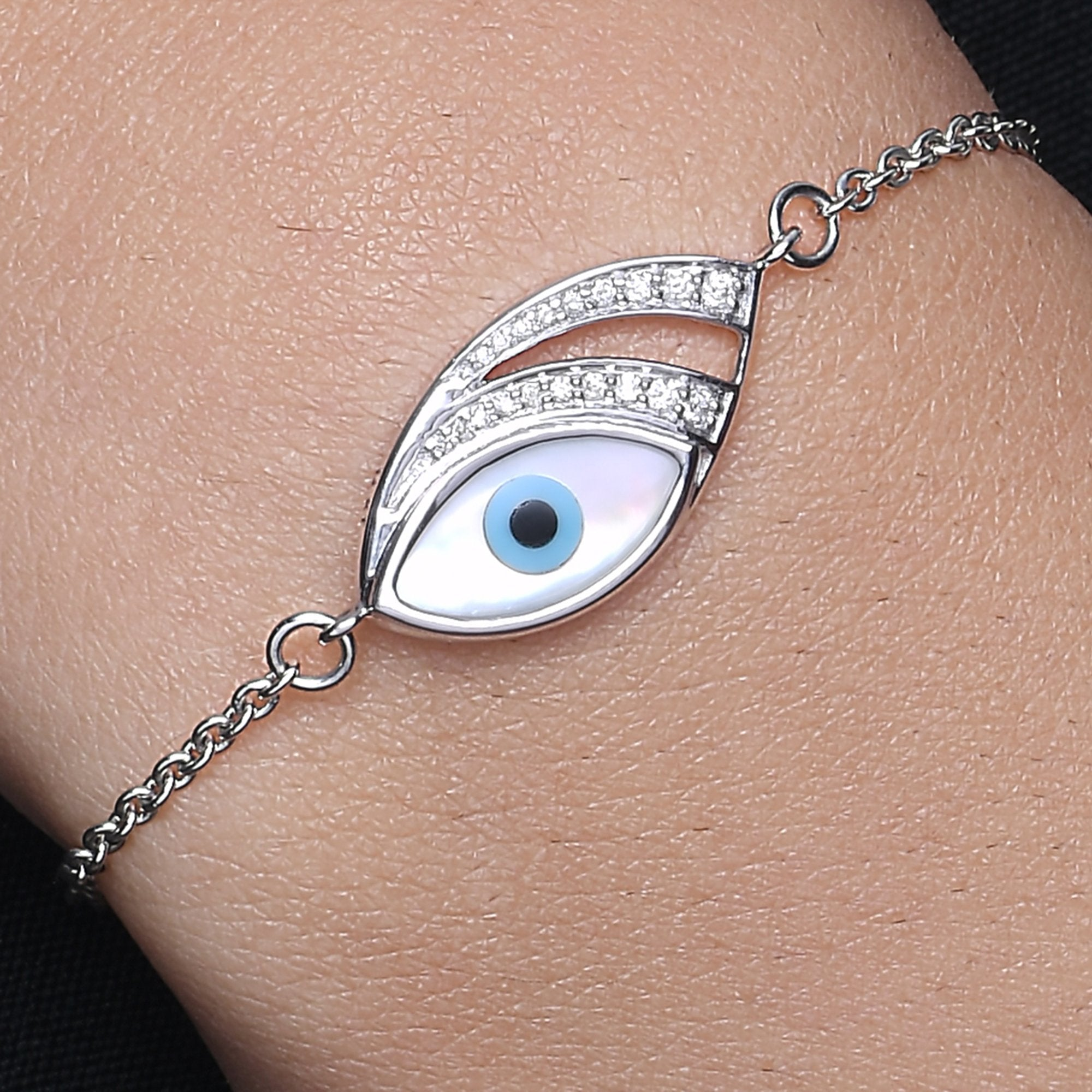 Medium Marquise Evil Eye Diamond Chain Bracelet