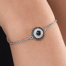 Load image into Gallery viewer, Black and White Diamond Bracelet with a Single Black Onyx.