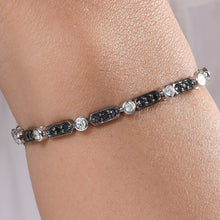 Load image into Gallery viewer, Black and White Diamond Tennis Bracelet