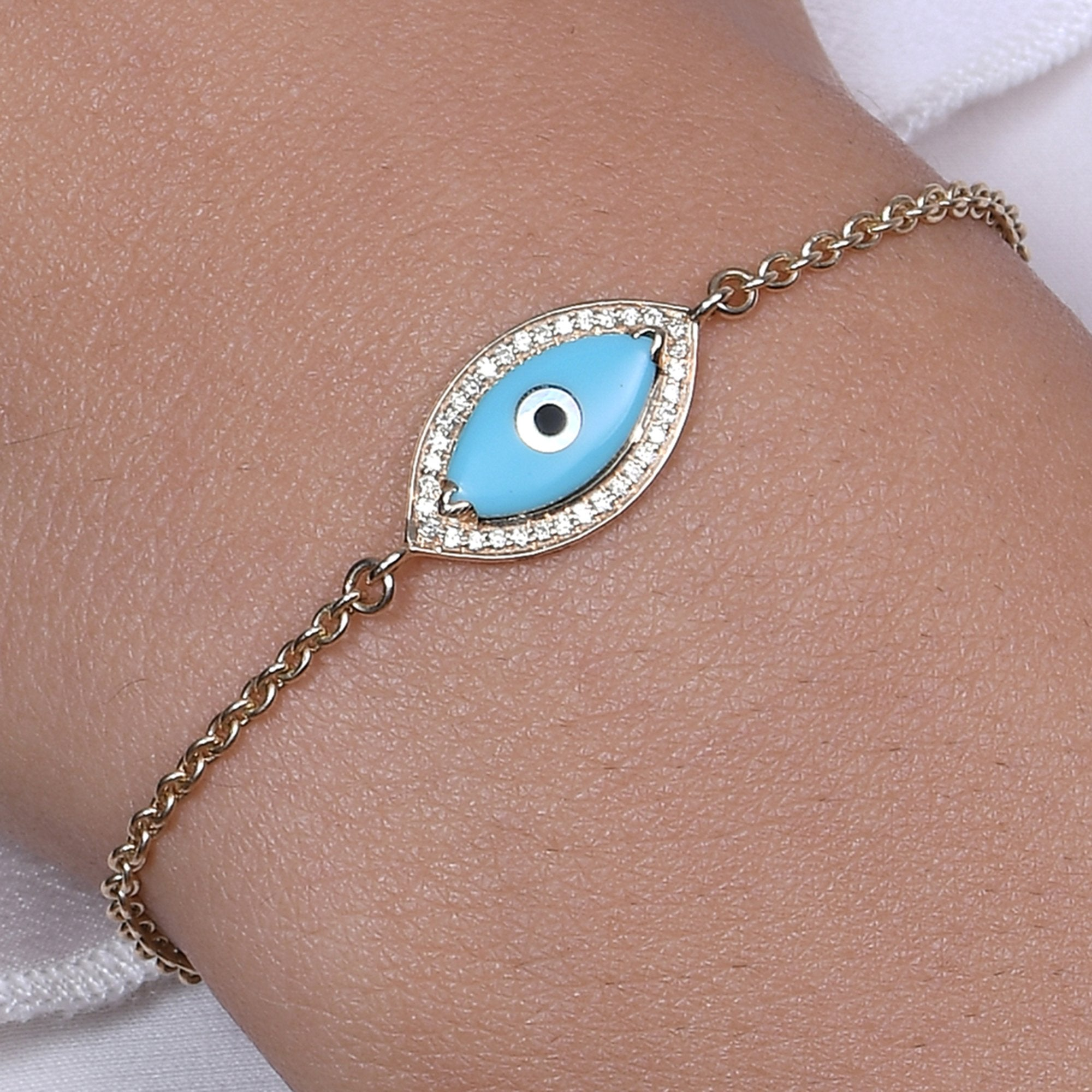 Small Marquise Turquoise Evil Eye Diamond Chain Bracelet